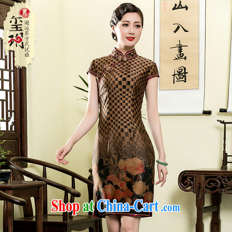 Yin Yue seal 2015 new summer retro checkered incense cloud yarn short cheongsam daily improved Chinese silk dresses picture color XXL