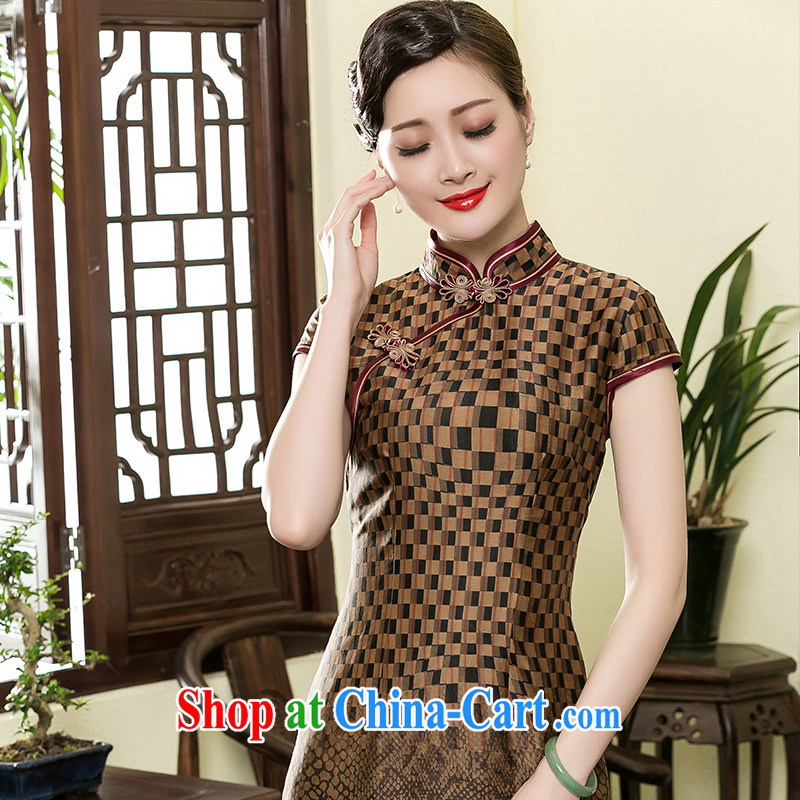 Yin Yue seal 2015 new summer retro checkered incense cloud yarn short cheongsam daily improved Chinese silk dresses picture color XXL seal, Yin Yue, shopping on the Internet