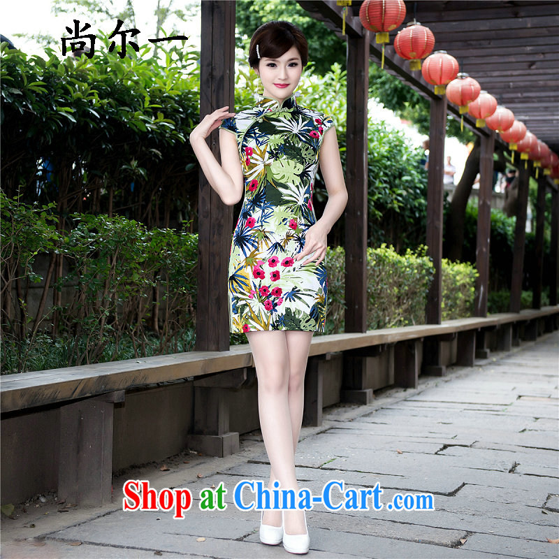 There's a woman with stylish new outfit retro elegant Chinese improved Silk Cheongsam dress 5225 Map Color XXL
