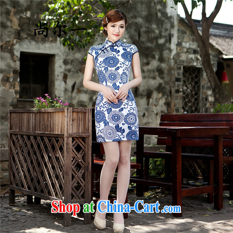 There is a summer new, improved cheongsam stylish beauty graphics thin cheongsam dress summer Chinese short qipao gown 5226 light blue XXL