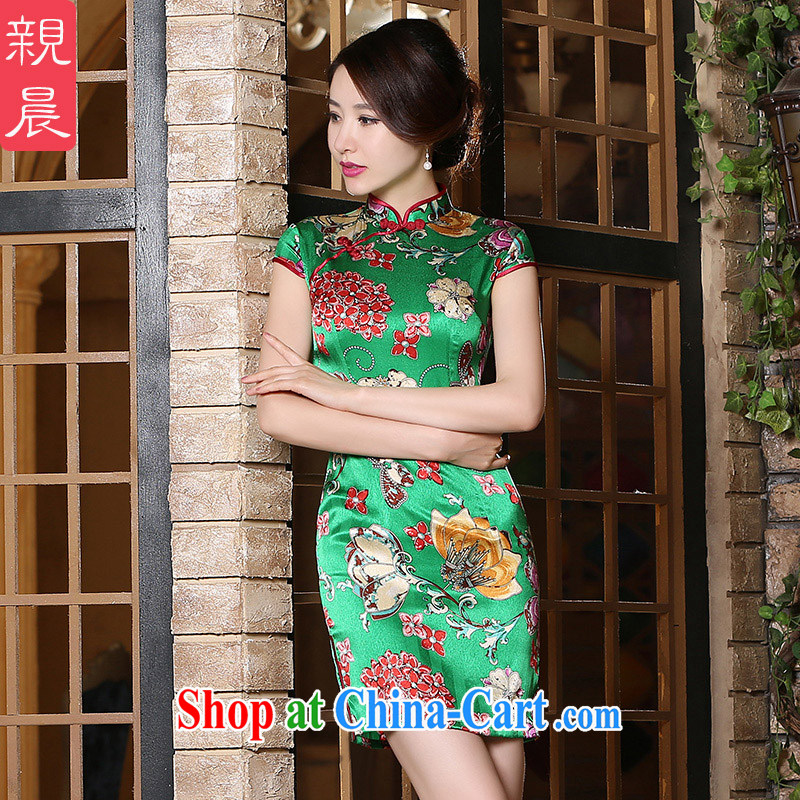 pro-am 2015 new daily summer, improved stylish heavy silk upscale sauna Silk Cheongsam dress short 3 XL
