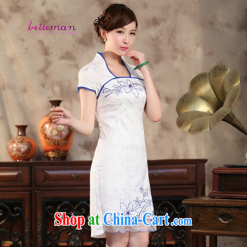 Mrs Ingrid sprawl economy Ethnic Wind improved terrace empty short sleeve T-shirt dresses summer decoration, Chinese Dress HL terrace 089 empty blue XXL