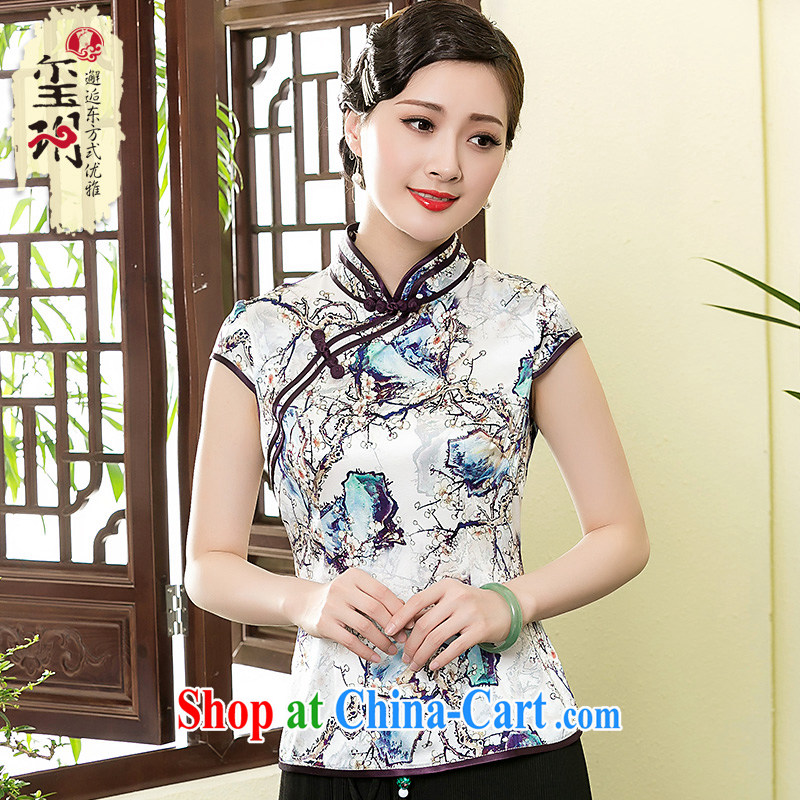 Yin Yue seal summer new heavy Silk Cheongsam T-shirt retro elegant refined Chinese short-sleeved Chinese picture Ms. color XXXL