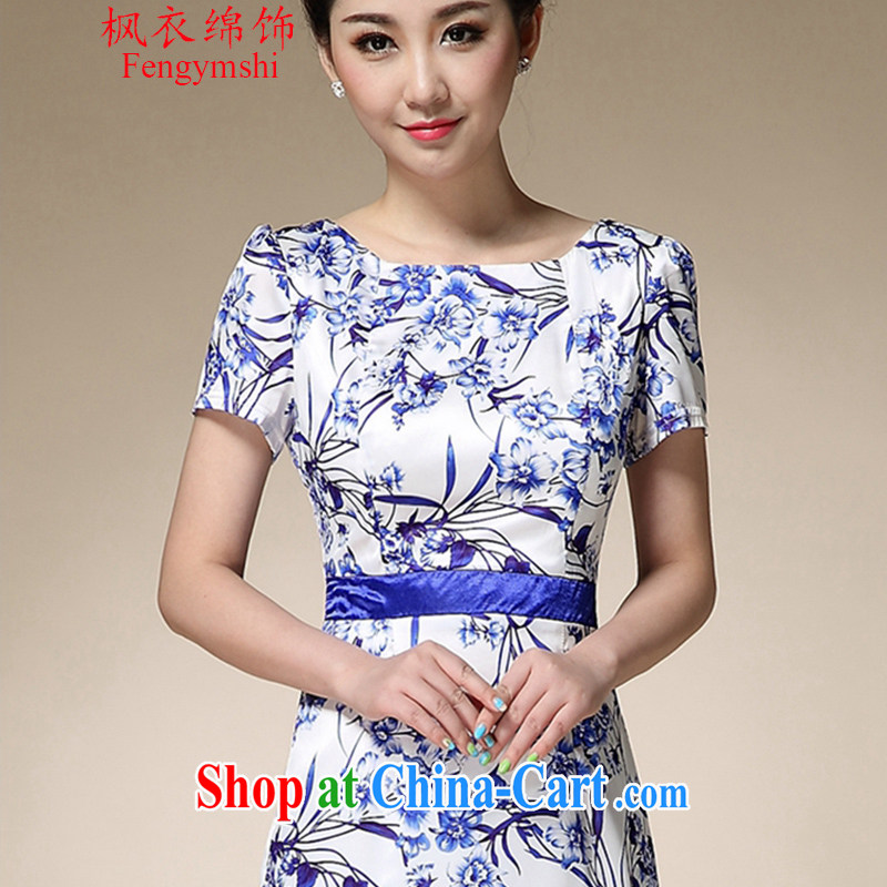 Feng Yi cotton trim 2015 summer beauty skirt dresses female blue and white porcelain stamp collection waist graphics thin mother with further than short-sleeved skirt FA 8991 055 blue 3 XL