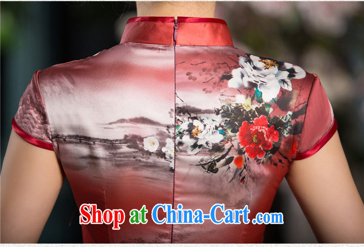 The cross-sectoral surround her dresses new 2015 summer retro short improved stylish silk Chinese qipao ink C sz 1520 green XL pictures, price, brand platters! Elections are good character, the national distribution, so why buy now enjoy more preferential! Health