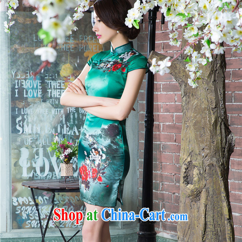 The cross-sectoral surround her dresses new 2015 summer retro short improved stylish silk Chinese qipao ink C sz 1520 green XL