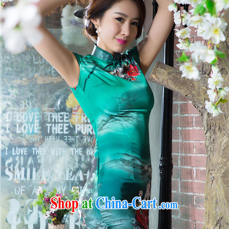 The cross-sectoral surround her dresses new 2015 summer retro short improved stylish silk Chinese qipao ink C sz 1520 green XL, Yee-Windsor, shopping on the Internet