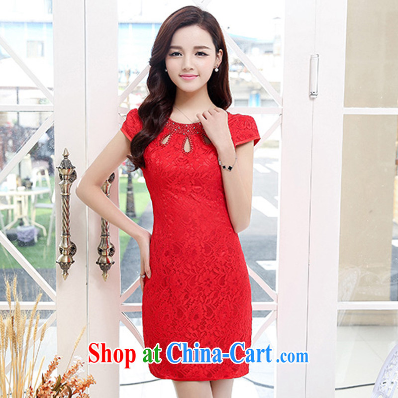 UYUK bride toast wedding dresses wedding dresses 2015 new retro improved cheongsam dress red wedding dress short-sleeved red XXL