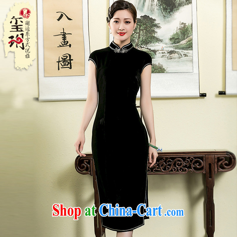 Yin Yue NARS summer 2015 new Korean lint-free wool, long, elegant qipao daily improved, dresses black XXL