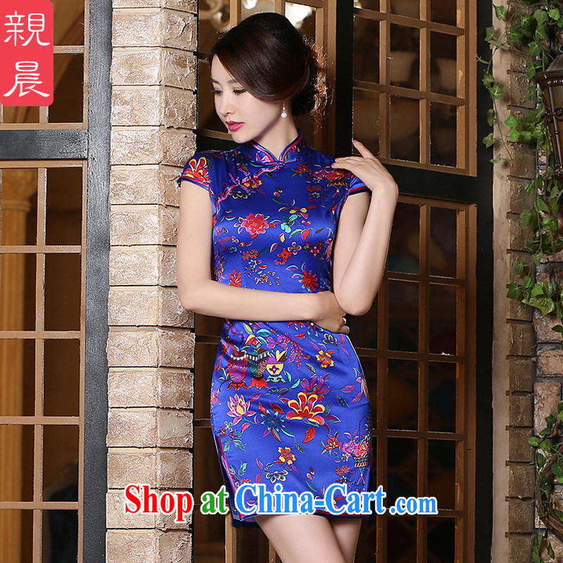 pro-am 2015 new daily summer, short, short-sleeved improved stylish upmarket Silk Cheongsam dress dresses short L