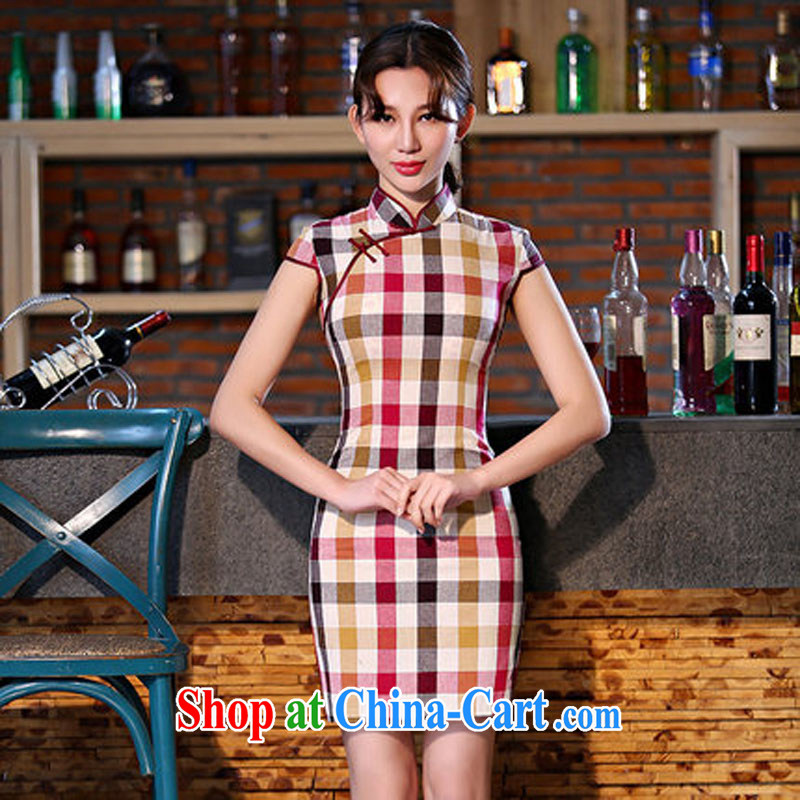 Czech Republic, summer 2015 new cotton Plaid Short, Retro dresses improved arts daily cultivating female Red M