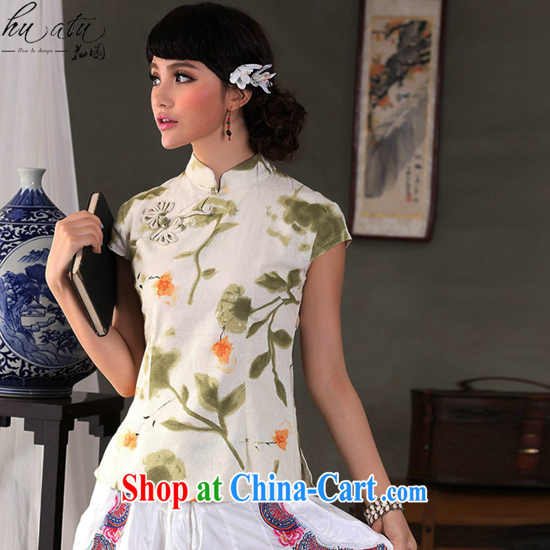 spend the summer, fresh and retro cotton the Commission is a hard disk for cultivating, for Chinese short-sleeved Orchid tie Chinese T-shirt such as the color 2 XL
