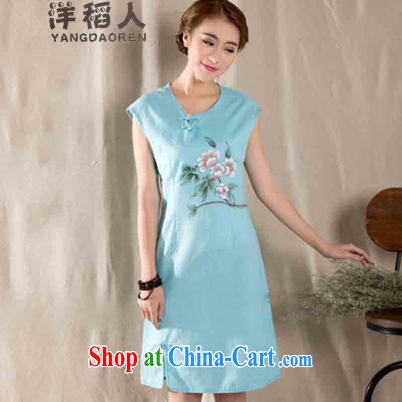 foreign rice, 2015 new art nouveau female hand-painted beauty improved cheongsam dress #1223 blue XL