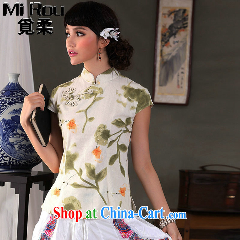 Find Sophie summer, fresh and retro cotton the Commission is a hard disk for cultivating, for Chinese short-sleeved Orchid buckle Tang with a T-shirt is a flower 2 XL