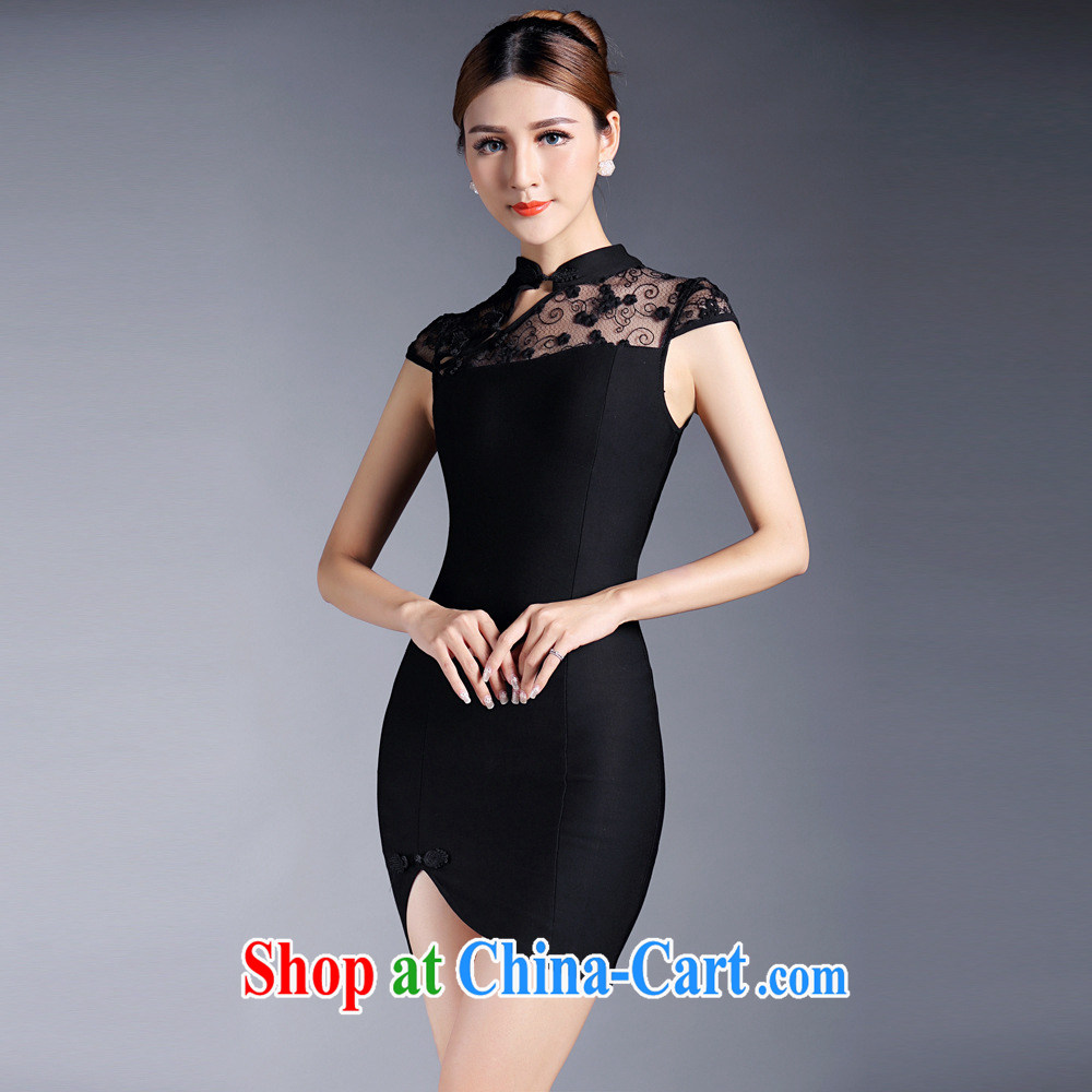 2015 new cheongsam dress summer gown, sexy lace elegant banquet dress improved short cheongsam dress