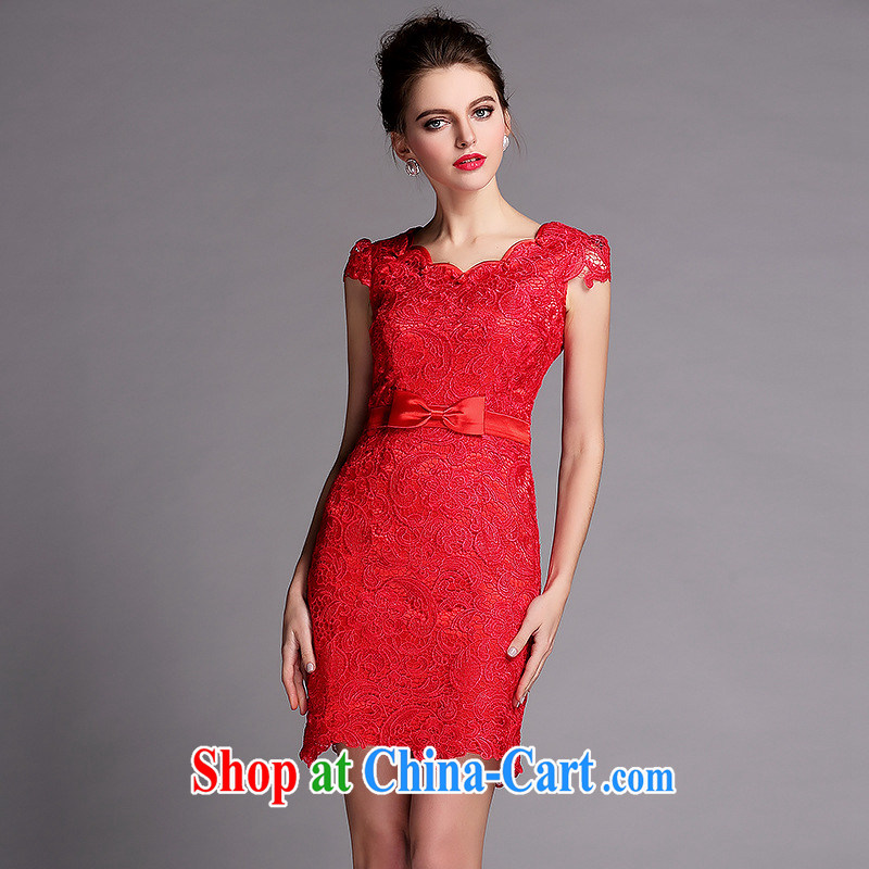 2015 new, improved cheongsam dress summer water-soluble lace Openwork banquet video thin dress red wedding elegant short Ki robe skirt