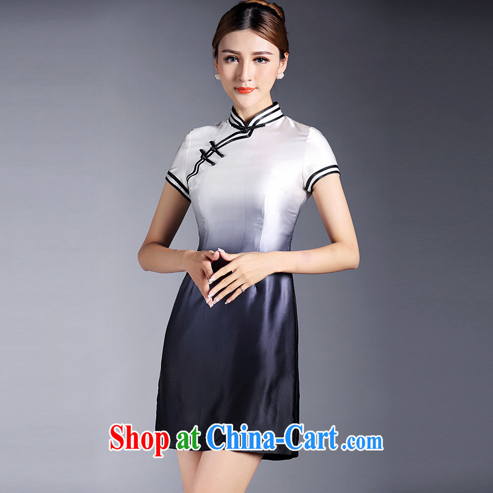 2015 new improved cheongsam dress summer dress Silk Cheongsam dress upscale sauna silk dress short-sleeved short Ki robe
