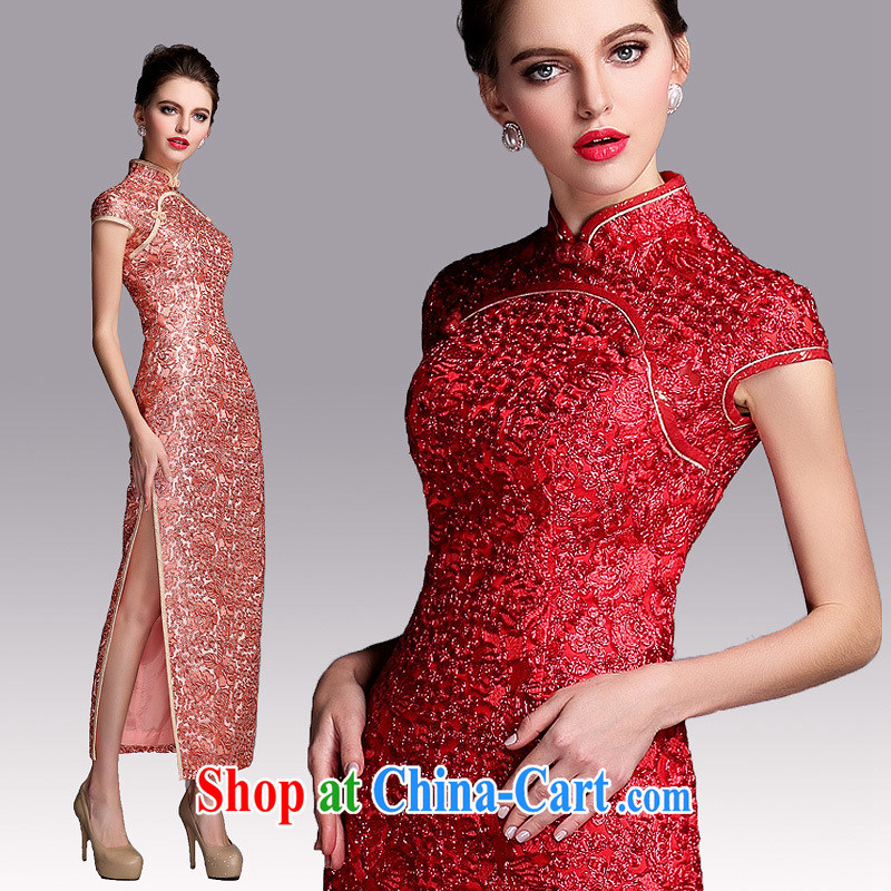 2015 new improved long dresses summer dresses wedding dress beauty graphics thin retro Park Ki-mouth robe skirt