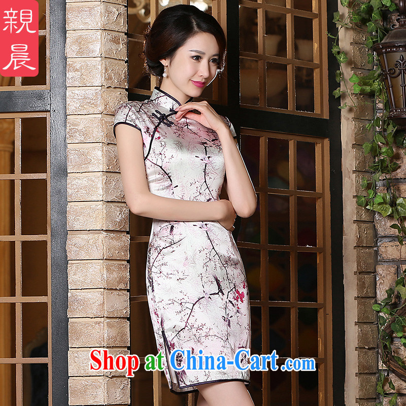 pro-am 2015 new summer daily improved stylish high Silk Cheongsam dress short, short-sleeved, dress short 2 XL