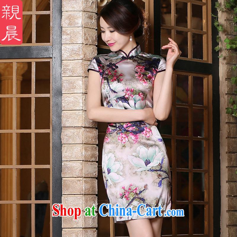 pro-am New 2015 daily summer improved stylish short, short-sleeved upscale silk sauna Silk Cheongsam dress short 2 XL