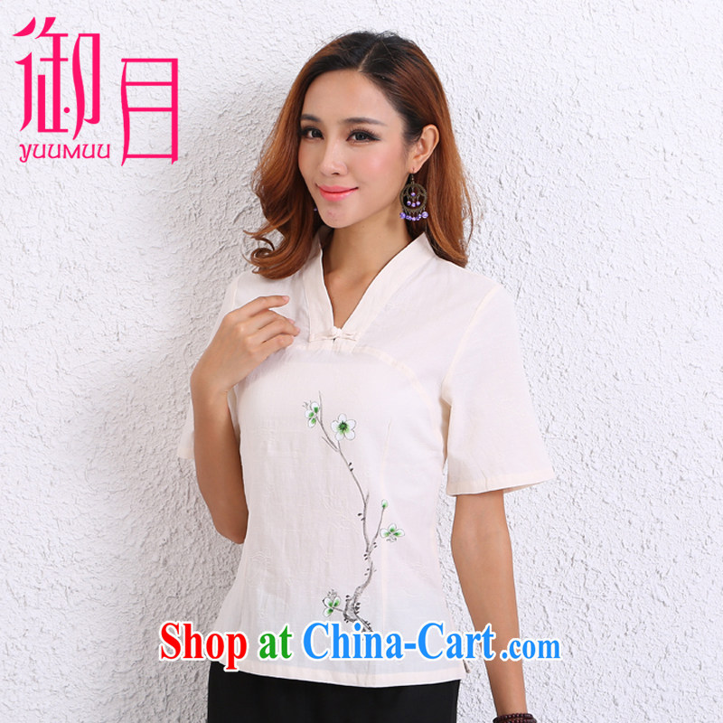 Imperial Palace, summer 2015 new national fresh Chinese Chinese cotton Ma T-shirt Ethnic Wind Han-short-sleeved beige XL