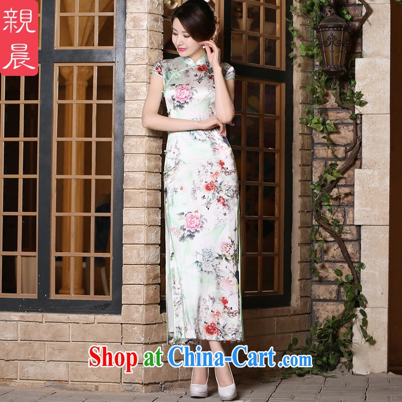 pro-am 2015 new summer daily short, short-sleeved upscale Silk Cheongsam dress, improved stylish dresses long 2XL