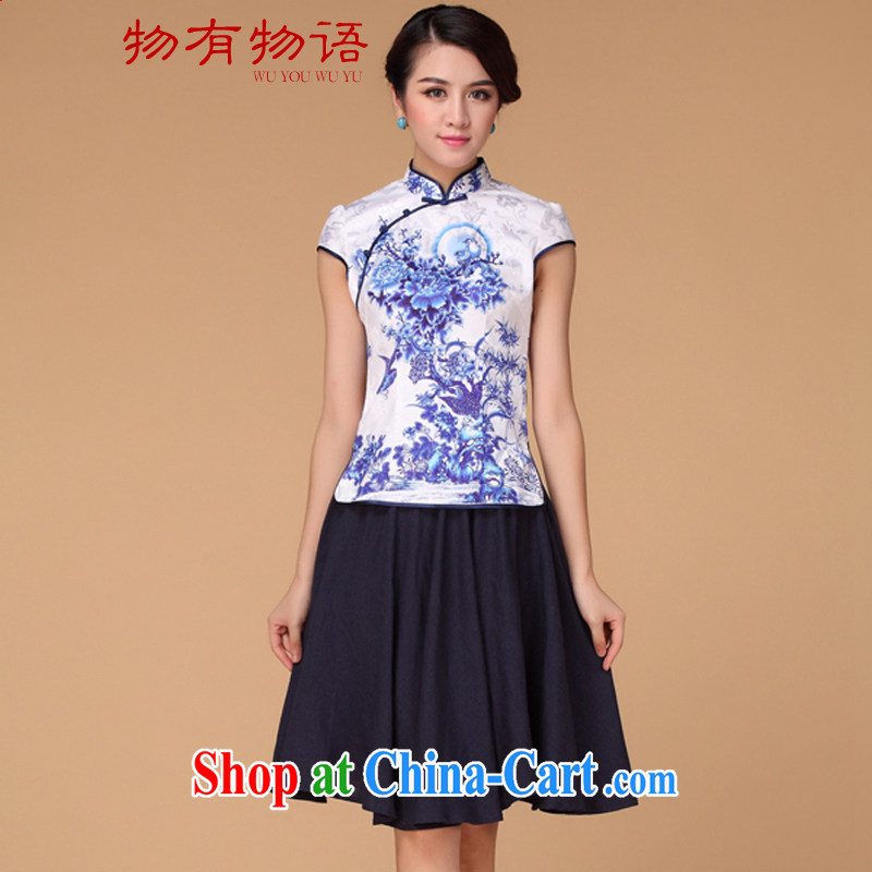 A Chinese Han-summer 2015 New Tang is China's National wind women improved blue and white porcelain cheongsam dress blue and white porcelain XXXL