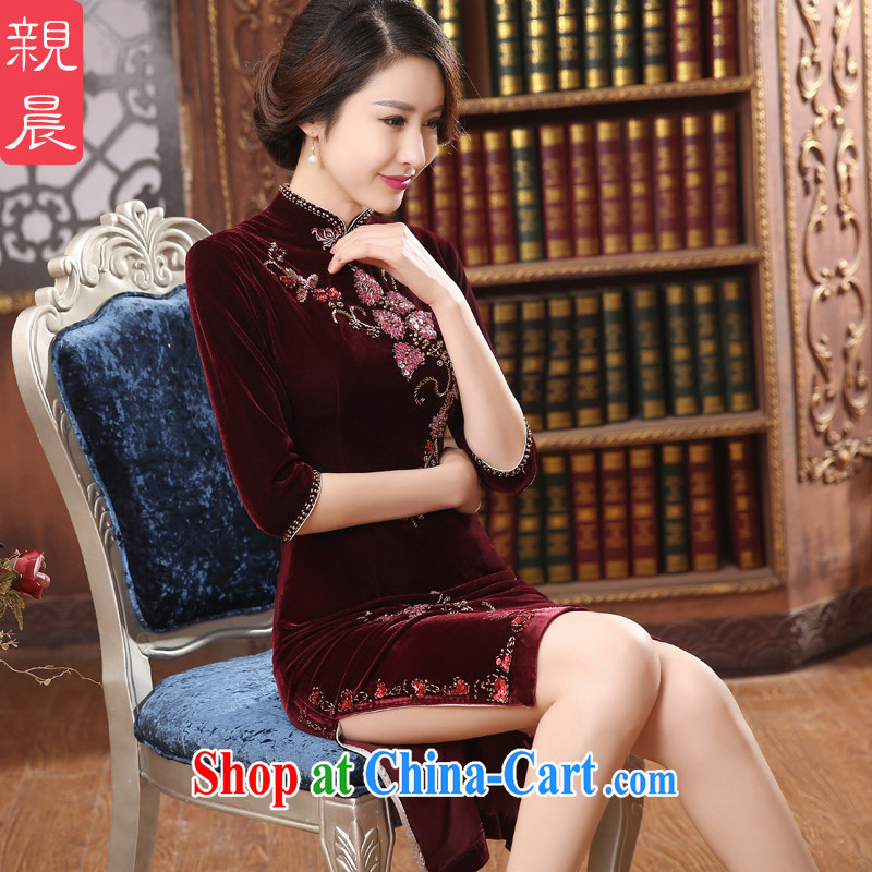 pro-am 2015 new daily summer improved stylish long velvet cheongsam dress wedding banquet mother with wine red 2 XL