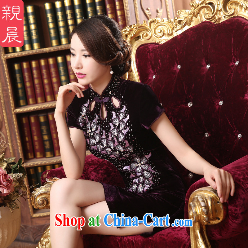 pro-am 2015 new summer daily improved stylish short velvet dresses wedding dress with her mother dresses short 2 XL