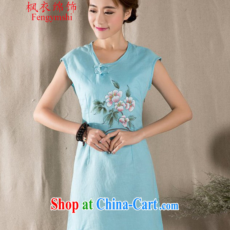 Feng Yi cotton trim New Literature and Art Nouveau cotton the female hand-painted cotton Ma Sau San improved cheongsam dress Z JD 1223 034 blue XL .