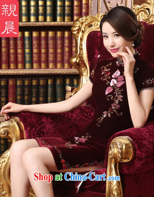 pro-am 2015 new summer daily improved stylish velour cheongsam dress wedding banquet mother load dresses short 2 XL