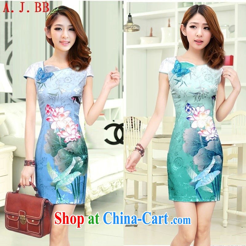Black butterfly summer 2015 new stylish beauty dresses retro Lotus the gradient improved fashion cheongsam dress colored blue XXL
