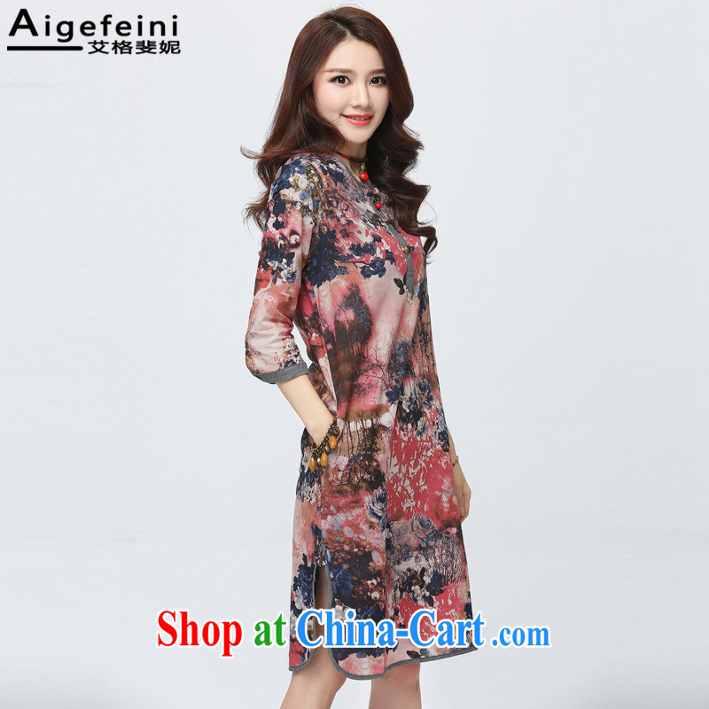 The grid has caused Connie (Aigefeini) 2015 summer New floral dresses 7 cuffs female China wind larger graphics thin disk for the forklift truck cheongsam Red Orange bottom take XXL