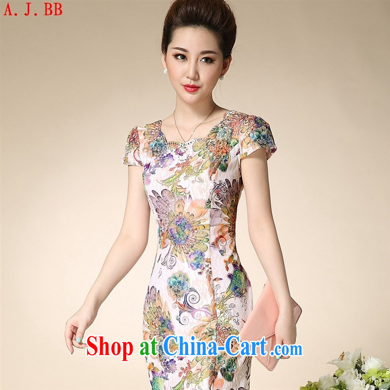 Black butterfly summer 2015 new improved stylish beauty mom with lace cheongsam dress retro elegant qipao dress blue background 3 XL