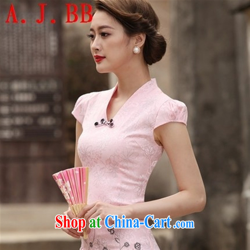 Black butterfly 2015 new summer, new and Stylish retro short cheongsam improved cheongsam dress, daily outfit skirt pink XXL