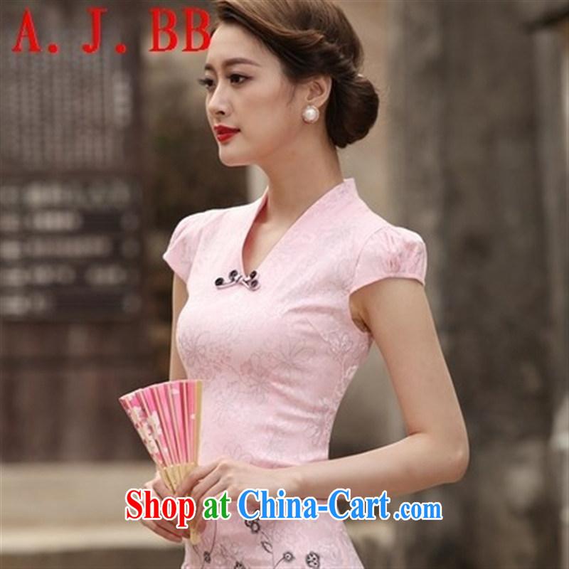 Black butterfly 2015 new summer, new and Stylish retro short cheongsam improved cheongsam dress, daily outfit skirt pink XXL