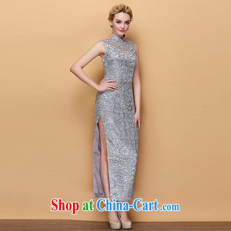 2015 new improved long dresses Summer Language empty, nails pearl cultivation video slim Ki robe stylish wedding dress girl silver 4XL