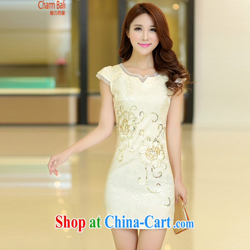 2015 summer edition Korea beauty and Stylish retro short-sleeved Chinese qipao, long dresses apricot M