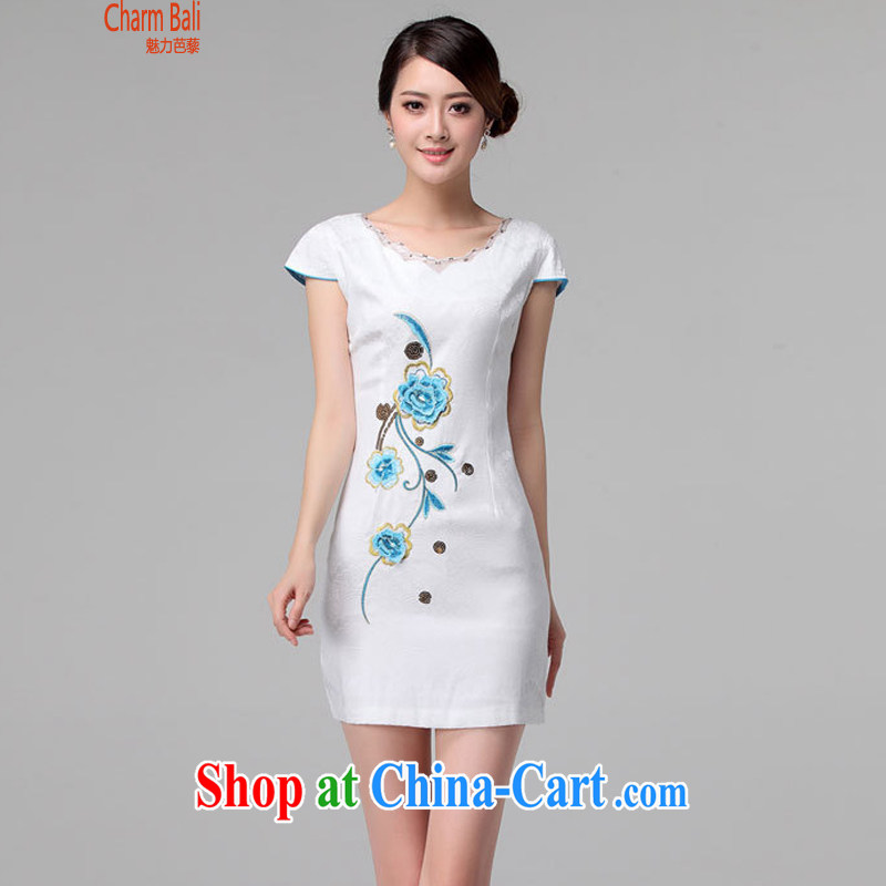 2015 summer edition Korea beauty and Stylish retro short-sleeved Chinese qipao, long dresses white XXL