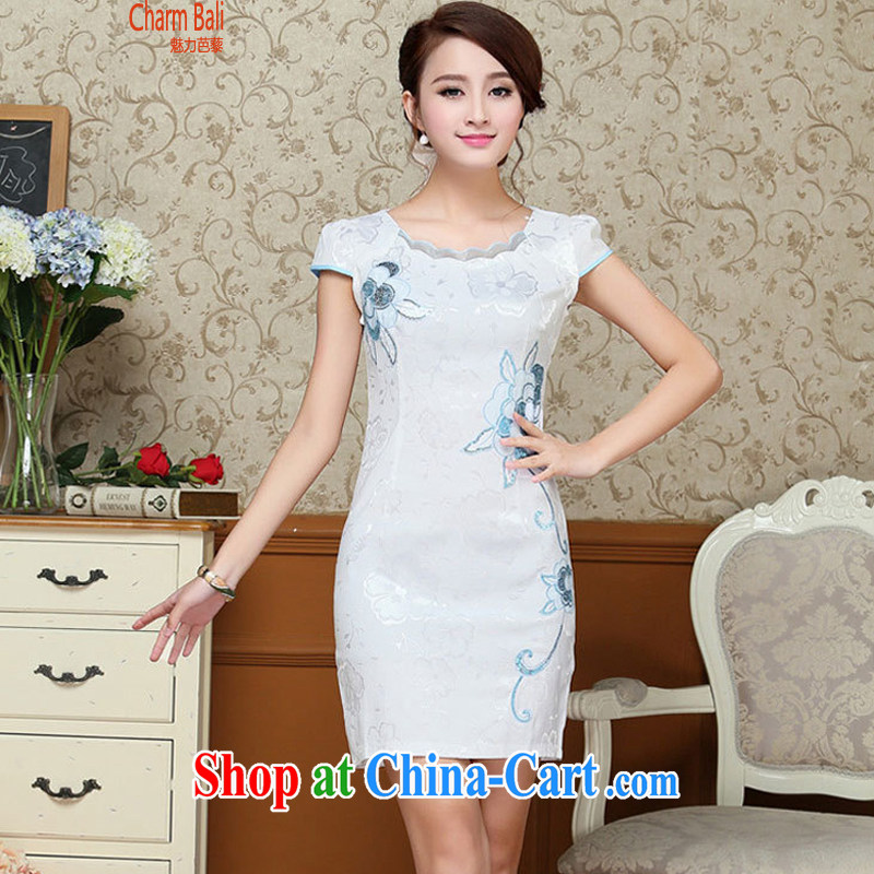 2015 summer edition Korea beauty fashion style retro short-sleeved Chinese qipao, long dress light blue M