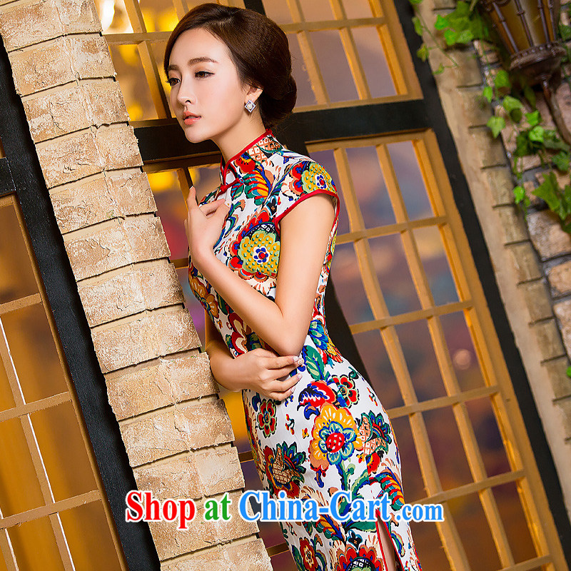 Love spell Fort Lauderdale 2015 summer new, retro-day dresses and stylish improved floral cotton Ma short dresses women cheongsam dress suit XXL