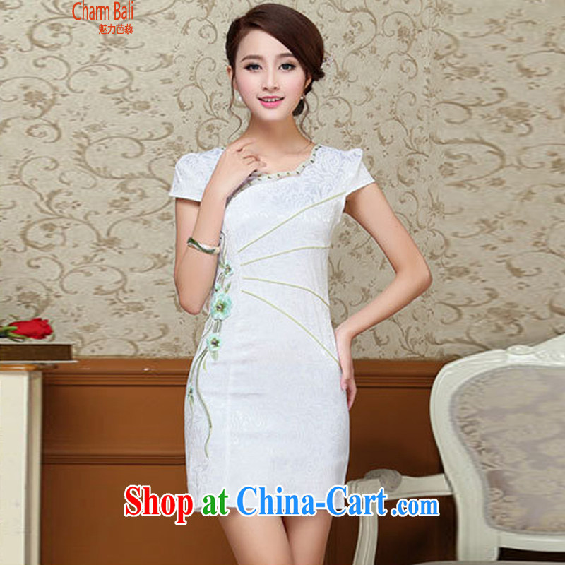 2015 summer edition Korea beauty and Stylish retro petal collar short-sleeved Chinese qipao, long dress light blue M