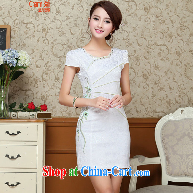 2015 summer edition Korea beauty and Stylish retro petal collar short-sleeved Chinese qipao, long dress light blue XXL