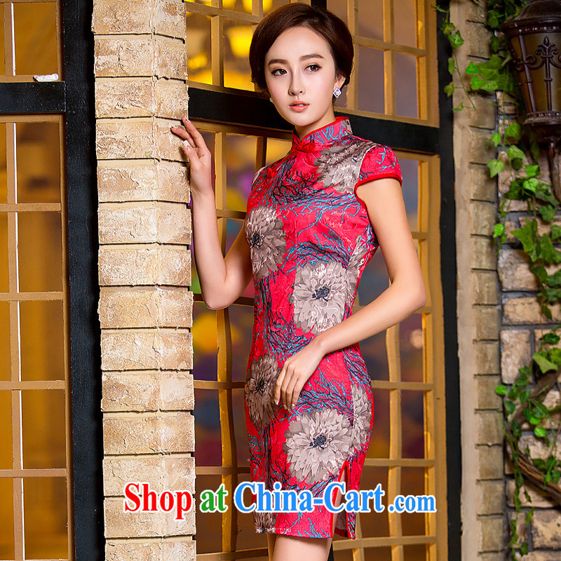She dresses in Fort Lauderdale 2015 new summer short, retro style improved cotton Ma daily ethnic wind dress cheongsam dress 037 XXL
