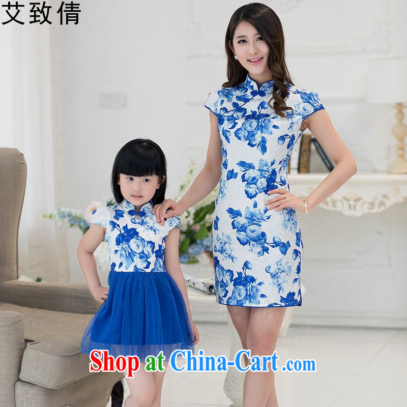 The consistent, Sin dresses 2015 summer new Korean version cultivating short-sleeved blue and white porcelain antique dresses parent-child with the dresses blue and white porcelain XL