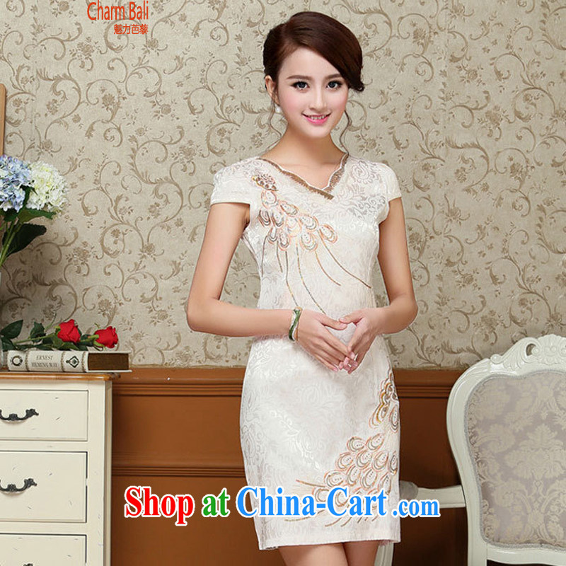 Hip Hop charm and Asia 2015 summer Korean beauty and stylish retro petal collar short-sleeved Chinese qipao, long dresses light yellow L