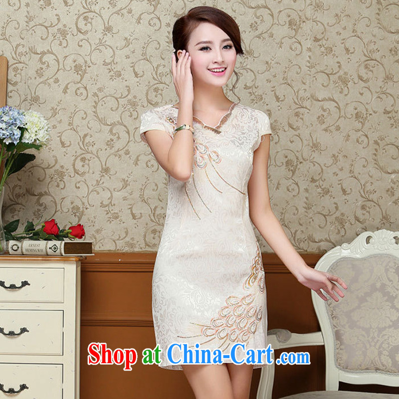 Hip Hop charm and Asia 2015 summer Korean beauty and stylish retro petal collar short-sleeved Chinese qipao, long dresses light yellow L, charm and Asia Pattaya (Charm Bali), online shopping
