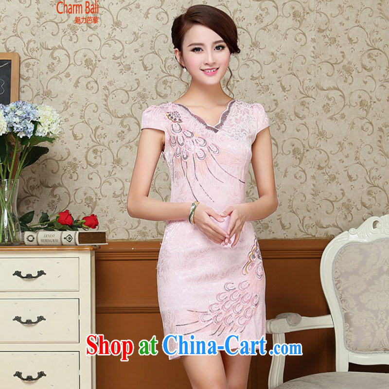 2015 summer edition Korea beauty and Stylish retro petal collar short-sleeved Chinese qipao, long dresses pink M