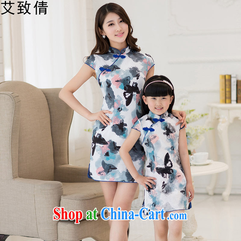 The consistent Sin 2015 summer new dresses Korean Beauty parent-child with mother and daughter cotton the cheongsam dress butterfly flower XL