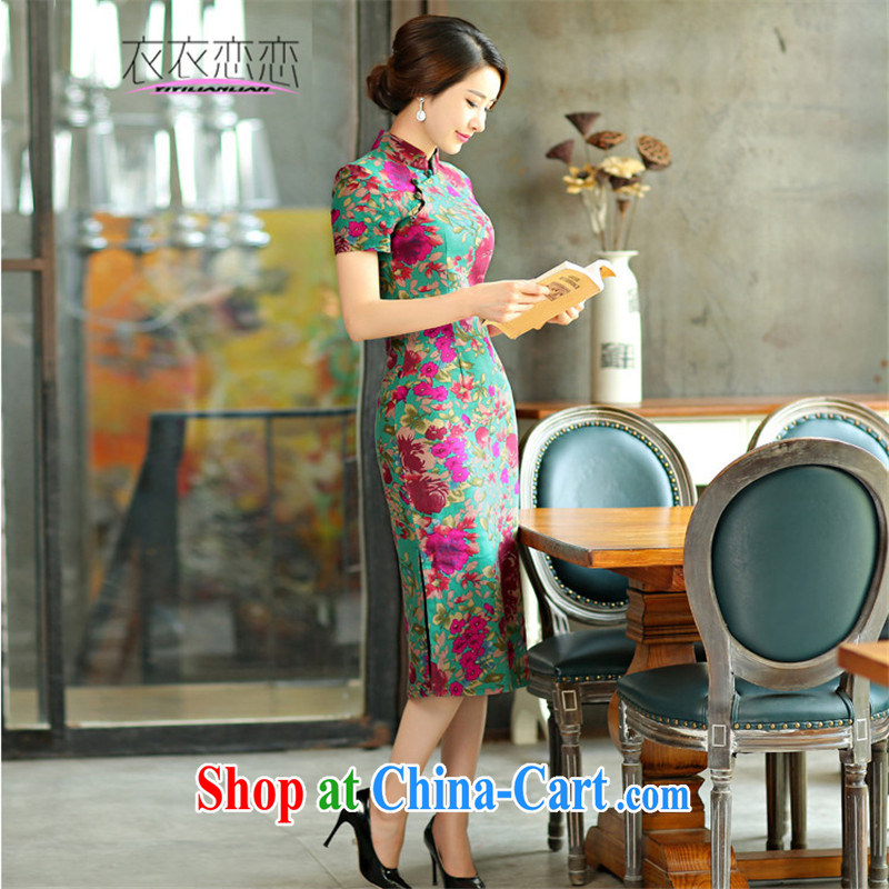 Yi Yi Lian Lian 2015 summer new retro beauty graphics thin short sleeves in the Code improved linen long cheongsam dress Green Maze 9008 M
